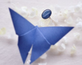 Silver ring 925 and semiprecious stones, cabochon of kyanite