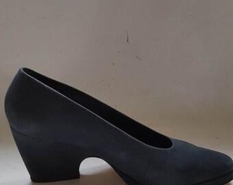 blue nubuck wedge shoe 6.5 UK