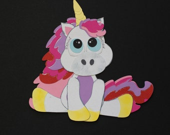 rainbow unicorn die cut for scrapbooking and card making