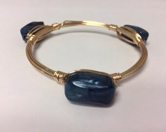 Wire Wrapped Beaded Bracelet--Blue