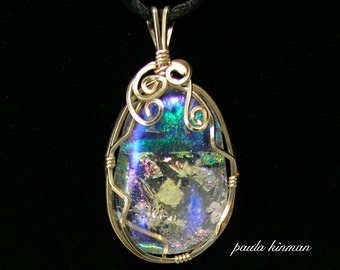Wire-wrapped Dichroic Cabochon #116
