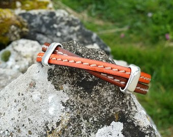the Crusader unisex leather bracelet