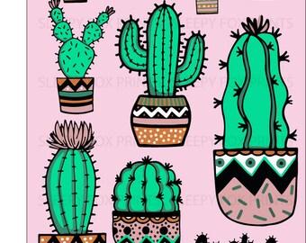 Cactus Clip Art, Cactus, Cute cactus,hand drawn, Doodles, Plants, Cactus Pots ,Plants, Instant download, Clipart, Succulents, cactus prints