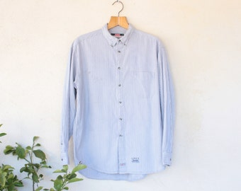 Vintage Levis Long Sleeved Shirt Striped Grey And Blue - Size Large