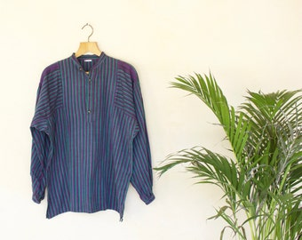 Vintage Green And Purple Grandad Collar Long Sleeve Shirt - Size Large