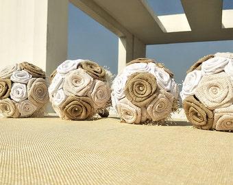 1 PC Handmade Bridesmaid Burlap Bouquet,Bridesmaid Bouquet,Burlap Bouquet,Rustic Wedding Bouquet,Rustic Bouquet,Burlap Rose Bouquet.