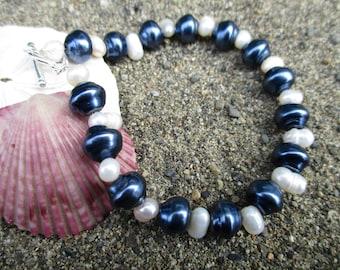Pearl Bracelet, Beaded Bracelet, Blue Bracelet