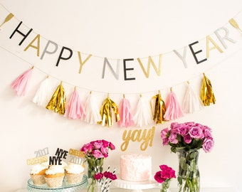 Happy New Year Banner   New Year Banner   New Years Banner   NYE Banner   2017   Party Decor   New Years Decor