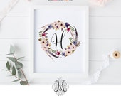 Instant Download Floral Wreath Wall Art Printable Monogram Home Decor Baby Girl Name Initial Art Floral Letter Wall Art Printable Letter Art