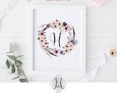 Sofortigen Download Blumenkranz Wand Kunst druckbare Monogramm-Home Decor Baby Mädchen Namen erste Floral Brief Wand Kunst druckbare Brief Kunst