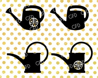Watering Can SVG, Gardening SVG, Watering Can Monogram Frame SVG, Watering Can Digital File, Instant Download, Svg, Dxf, Jpg, Eps, Png