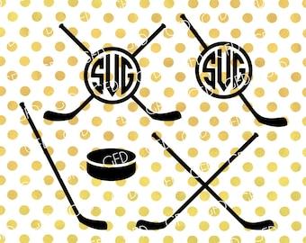 Hockey Monogram Frame SVG, Hockey Clipart, Hockey Stick SVG, Hockey Puck SVG, Hockey Cut File, Instant Download, Svg, Dxf, Jpg, Eps, Png