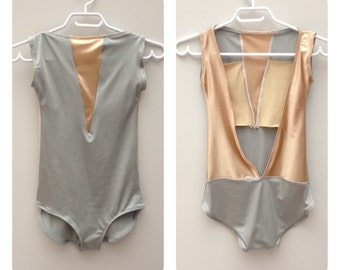 Custom Leotard in Silver Grey and Nude Satin Nylon with High Neck and Open Back Style