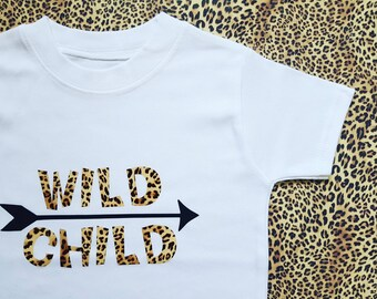 SALE Age 2-3 Wild Child Fun T-shirt - Toddler Clothing - Girls Gift - Leopard Print - Girls clothing - Pre made