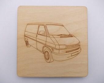 T4 Panel Van  Coaster - Etched wood