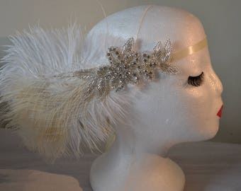1920's Ivory Diamante Feather Vintage Style Headband Flapper, Great Gatsby Charleston Weddings, Proms, Parties, 1920s Themed Occasions,