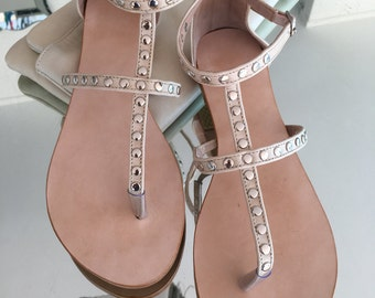 Ladies Leather Sandals, T-bar Leather Sandals, Summer Sandals, Nude Leather Sandals