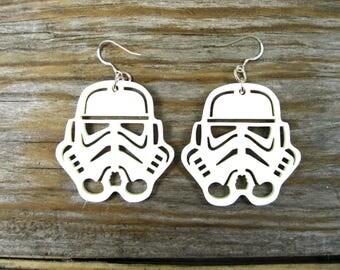 Star Wars Stormtrooper 3mm White Acrylic Earrings Approx 50mm