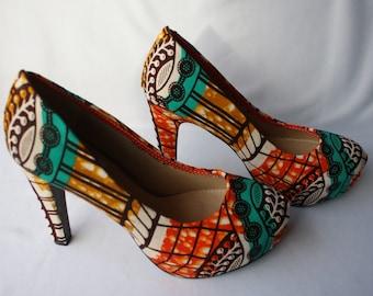 Multicolour Ankara Platform Heels, Size 7.5