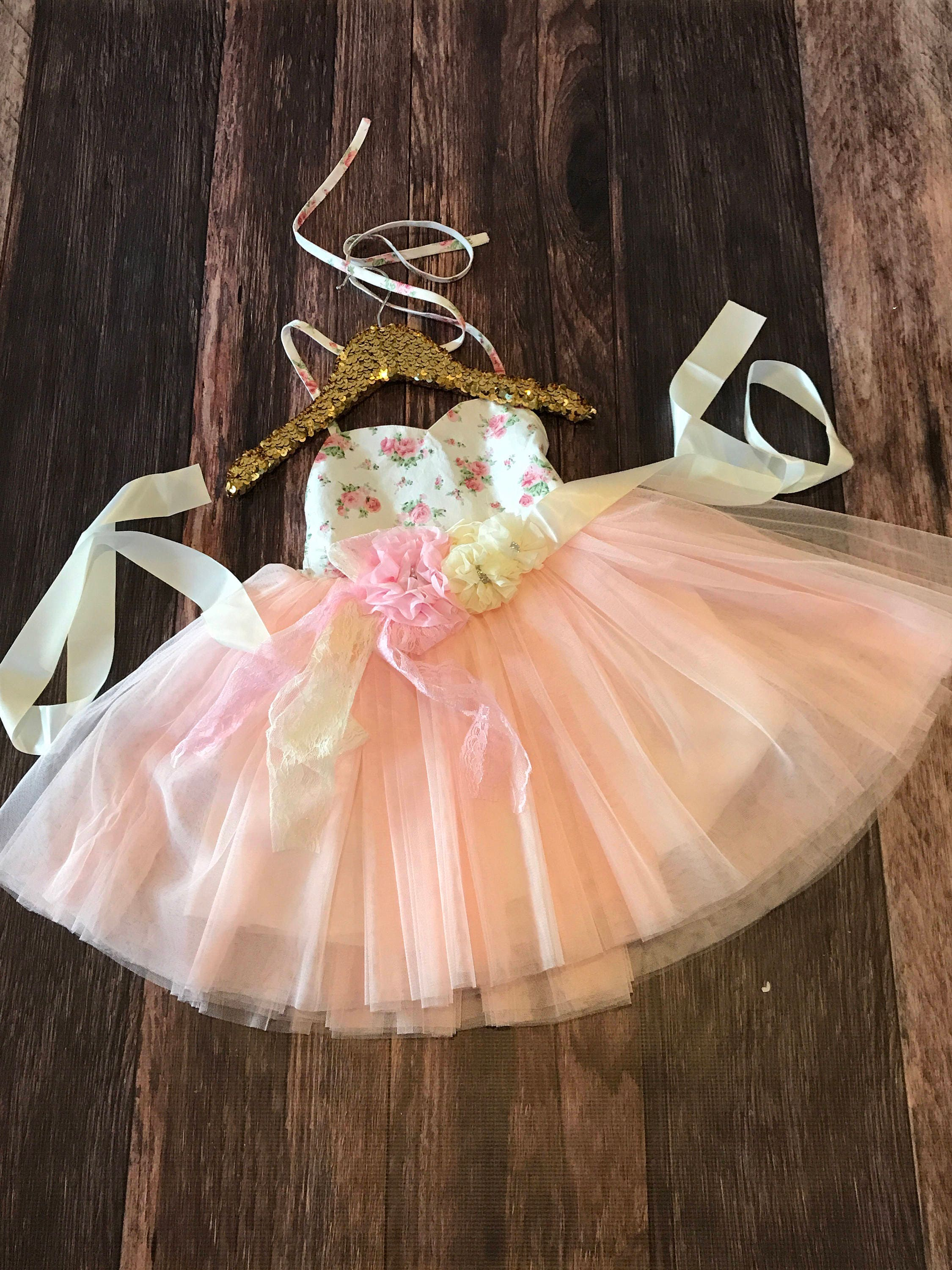 Country Couture Tutu Girls Dress Floral First Birthday Cake Smash Mommys