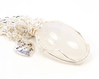Moonstone in Silver, Wirewrapped Necklace, Crystal Pendant, Healing Jewelry