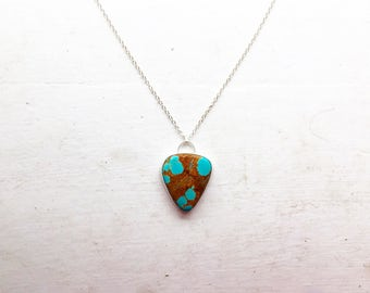 "Mesa: Natural #8 Mine, Nevada turquoise set in fine and sterling silver on a 24"" sterling silver chain"