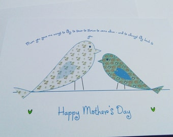 Mother's Day Card - poem - birds on a wire - pretty card