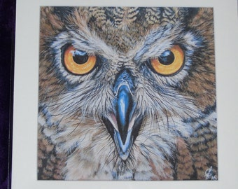 mounted fine art print of original painting horned owl 10x10