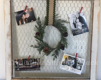 Old Window, Christmas Card Holder, Picture Display, Old Wood Window, Old Wooden Window, Single Pane Window, Repurposed Window, Chickenwire
