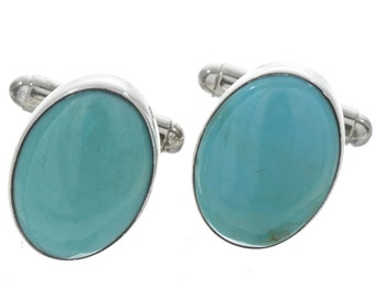 Turquoise Cuff Links Native American Silver Accessories
