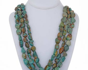 Turquoise Nugget Necklace Navajo Three Strand Choker