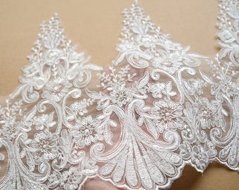 White Lace Trim Ivory Floral Tulle Lace Embroidery - width 30 cm,Ivory White wedding lace,Embroidery Lace Trim,edging lace trim