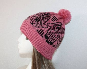 The Hand of Fatima Beanie Hat in Dusty Pink - with or without a pompom top - teen adult size