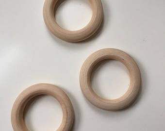 55MM Organic Wooden teething rings*wooden teether*natural wood