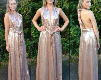 Sparkly sequin multiway gown -  'Kira' infinity gown for bridesmaids. Choice of color & multiple ways to wear for mix and match bridal party