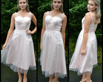 Midi Ballerina Tulle Dress - 'Amelia' - Fashionable and feminine reception dress with tulle overlay; great for wedding guests or bridesmaids