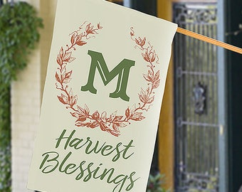 Personalized Harvest Blessing Wreath House Flag Custom Name Gift