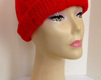 Bright red chunky knit bobble hat