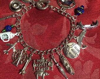 Seattle Themed  Silver Charm Bracelet
