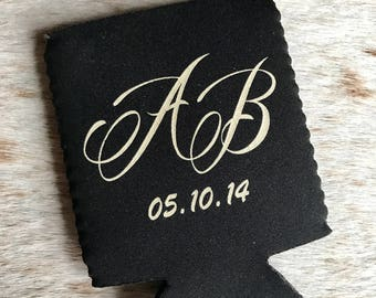 Personalized Wedding Huggers, Monogrammed, Custom, Collapsible Neoprene, Can, Beer, Beverage, Birthday, Logo