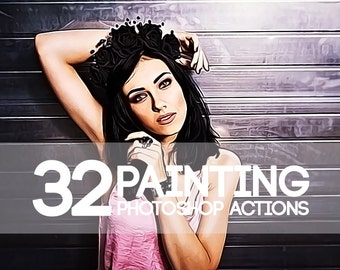 32 Watercolor Painting Photoshop Actions Collection (Action for photoshop CS5,CS6,CC)