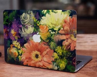 Vintage oil painting watercolor flowers floral MacBook skin decal laptop sticker vinyl decal