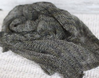 delicate knitted mohair wrap, variegated mohair wrap, New Born Wrap