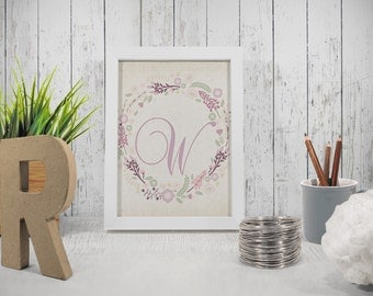 Printable letter W wall decor INSTANT DOWNLOAD