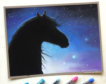 Friesian Horse - Horse Wall Art - Horse Drawing - Pastel Art - Chalk Pastel Art - Horse Wall Decor - Equine Artwork - Gift For Her - Galaxy