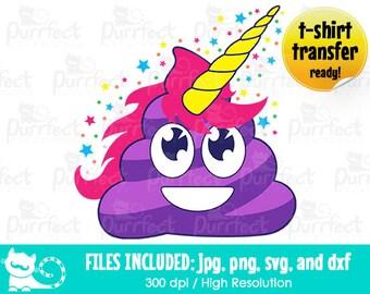 Cute Poop Unicorn SVG, Unicorn Poop SVG, Digital Cut Files in svg, dxf, png and jpg, Printable Clipart
