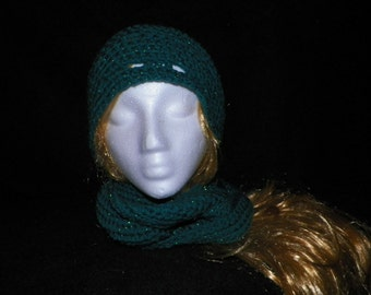 SALE!!! Teal Metallic Beanie and Infinity Scarf Set
