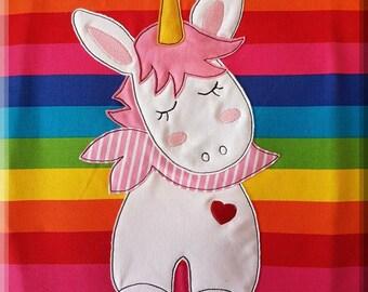 "Embroidery file embroidery motif Doodle ""Unicorn / unicorn"" 10 x 10"