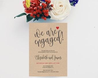 Engagement Invitation Printable, Engagement Dinner, Engagement Invitation Template, Kraft Invitation, Engaged Announcement Invite, Digital