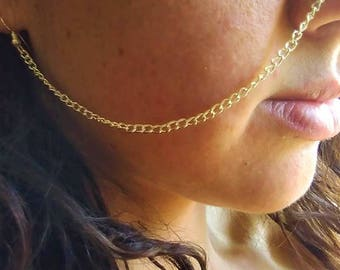 Nose to ear chain | Nose chain | Indian nose chain | Bohemian nose ring | Unique facial jewelry | Facial chain | Goddess jewelry | Rave Wear